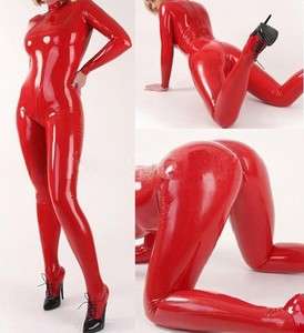 2019 sexy red Latex tights jumpsuit with stocking 100% handmade nature rubber catsuit plus size Hot sale