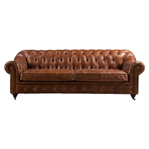 Living Room Furniture Italy Leather Chesterfield Sofa
