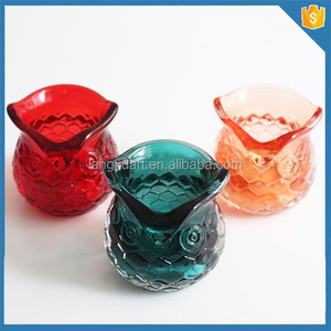 owl shape crystal glass candle holder,tealight glass candle container