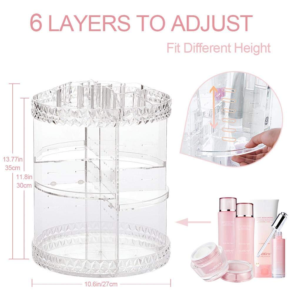 360 Degree Rotating Makeup Organizer, Multi-Level Storage Adjustable Cosmetics Storage Display Holder for Dresser Bedroom Bathroom