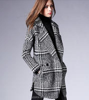 2020 New fashion European stylish women casual plaid woolen coat plus size long coat for women