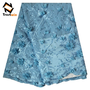 Wholesale fashionable cotton lace African lace fabric with beaded 3D flowers for wedding