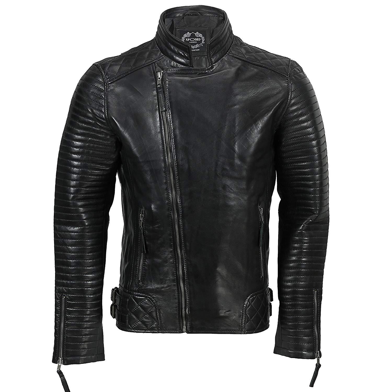 XPOSED Mens Genuine Real Leather Biker Jacket Retro New Moto Cafe Style Cross Zip In Vintage Tan, Black