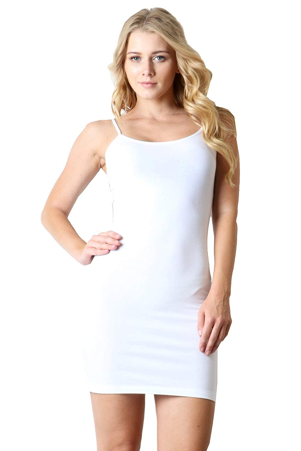 af4c1bf0a2b236 Get Quotations · ZENANA SLEEVELESS SCOOP NECK CAMI SHORT MONI BODYCON DRESS  WHITE