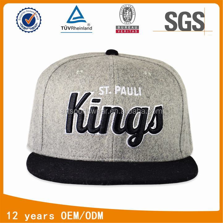 short bill 3D raised embroidery Kings wool snapback hats and caps
