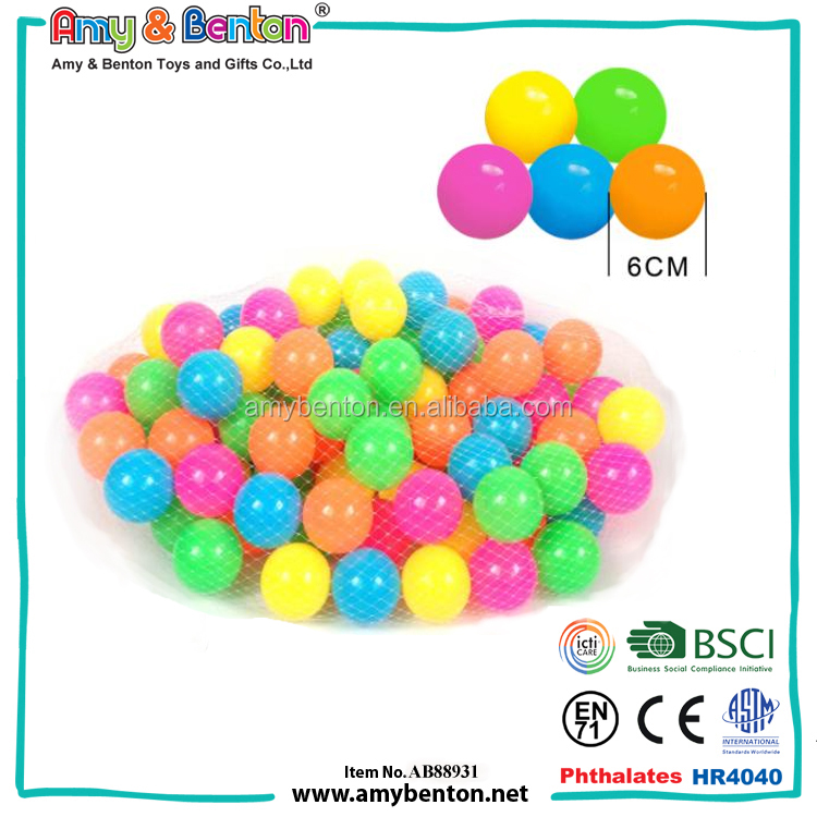 nice color non-smell and crush proof wholesale ball pit balls in various sizes with ASTM certificate for kids