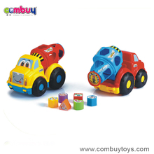 Hot sale building block puzzle design tool truck big train toy