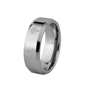 8mm Laser Etched Masonic Symbol Solid Tungsten Carbide Wedding Band Engagement Ring