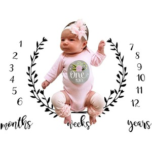 2018 Hot sale customized news months photography props baby milestone blanket