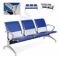 China BT-ZC002 Hospital 3 seat waiting room chair, Three seater metal chrome armrest waiting chair