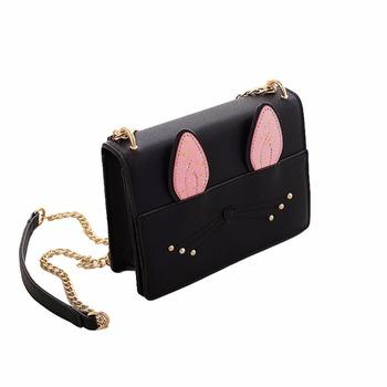 2b04576763b0 Cute Women Girls Chain Crossbody Bags PU Leather Cat Rabbit Mini Small  Shoulder Bag Handbag Beige