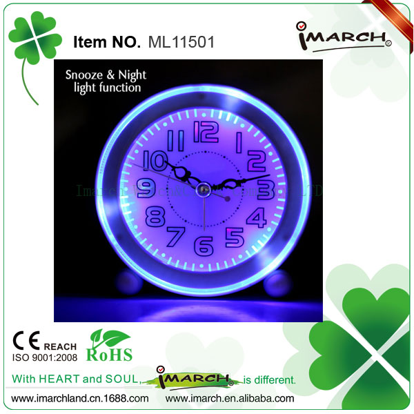 Kids round plastic bright blue LED light quartz analog melody table alarm clock