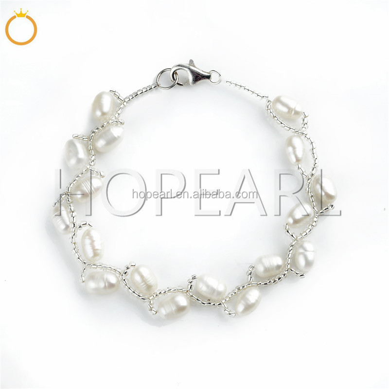 FPB214 Sterling 925 Silver Clasp Womens Pearl Jewelry Freshwater White Pearl Bracelet