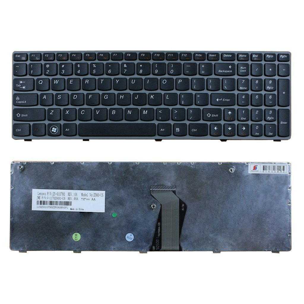 Eathtek Replacement Keyboard with Grey Frame for Lenovo Ideapad Z560 Z560a Z565 Z565a series Black US Layout