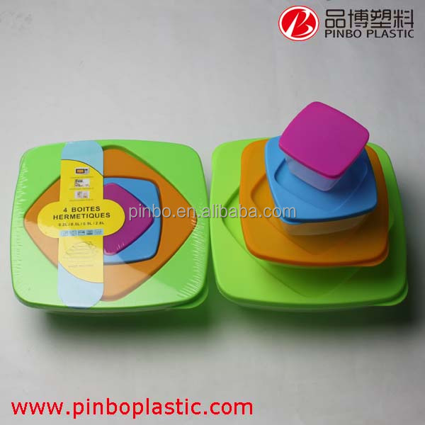 2015 New design biodegradable food container set,4 color pp food container