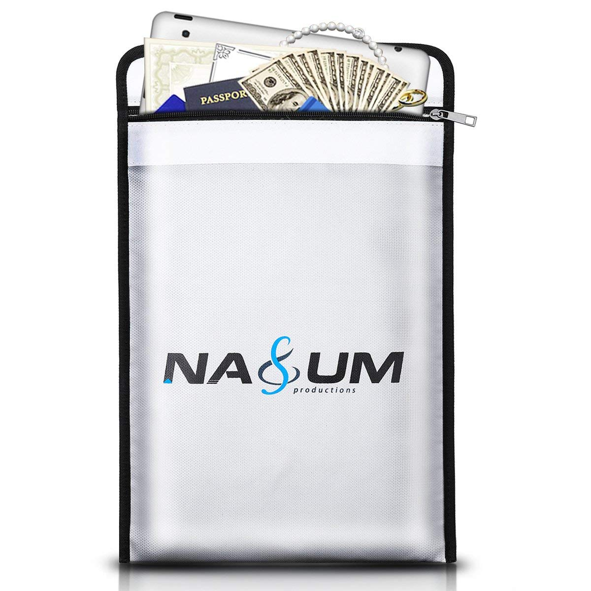 Safe Document Bag,NASUM 15''x11'' NON-ITCHY High-quality Liquid Silicone Coated Fireproof Money Bag.Water-resistant Safe Storage for Documents,Money,Cash,Passport,Certificate and Valuables. silver