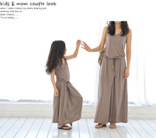 Hot sale mother and daughter family matching outfit summer fashion long girls Modal maxi elegant dress
