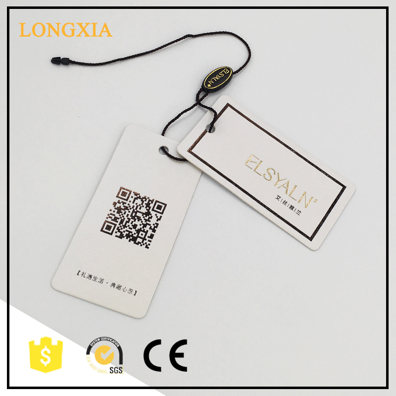wholesale rectangle cardboard printing hang tag for clothing