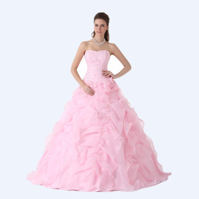 3568923d6a Get Quotations · Sweet Pink Quinceanera Dresses 2015 Ball Gown Sweetheart  Ruffles Beaded Quinceanera Gowns Vestidos De 15 Anos