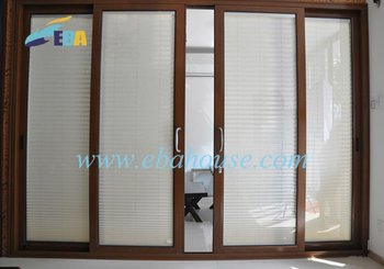 Aluminium Sliding Door Double Glazing With Built In Blinds Office Partition  Glass Door