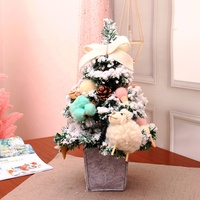 Festival Ornaments Mini Desk 45cm Mini PVC Artificial Christmas Tree With Snow Effect
