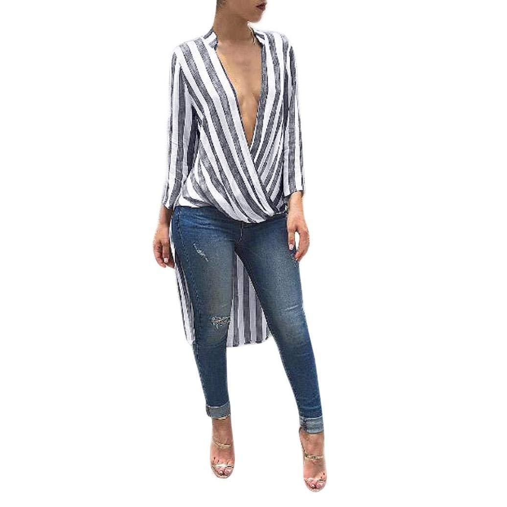 823d7153 Get Quotations · Dream_mimi Women's Autumn blouses for ladies tops and blouses  black and white striped shirt womens Long