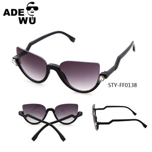 ADE WU Brand crystal semi rimless cat eye sunglasses women pink silver mirror vintage half rim sunglasses cat eye female black