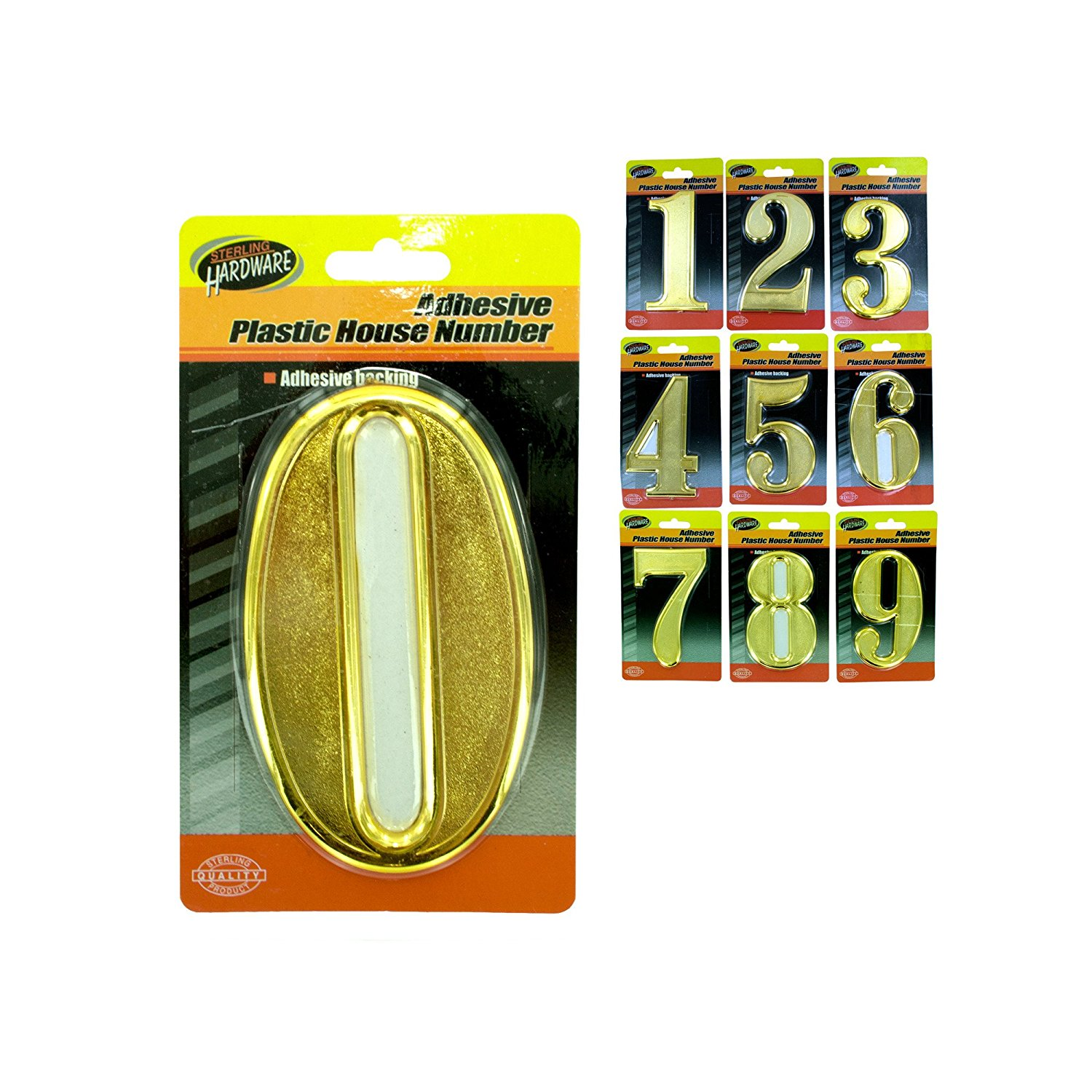 123-Wholesale - Set of 36 Adhesive Plastic House Numbers - Hardware Signs
