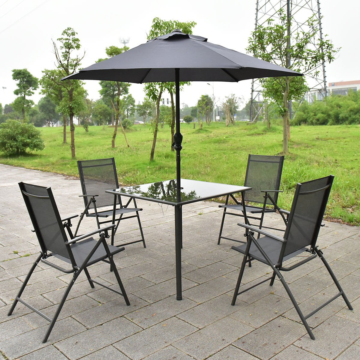 6PCS Patio Garden Set furniture 4 Folding Chairs Table with Umbrella Gray New : set of 4 folding chairs - Cheerinfomania.Com