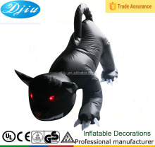Classic inflatable halloween party and street decoration devil red eyes sharp claws whole body black dog toy