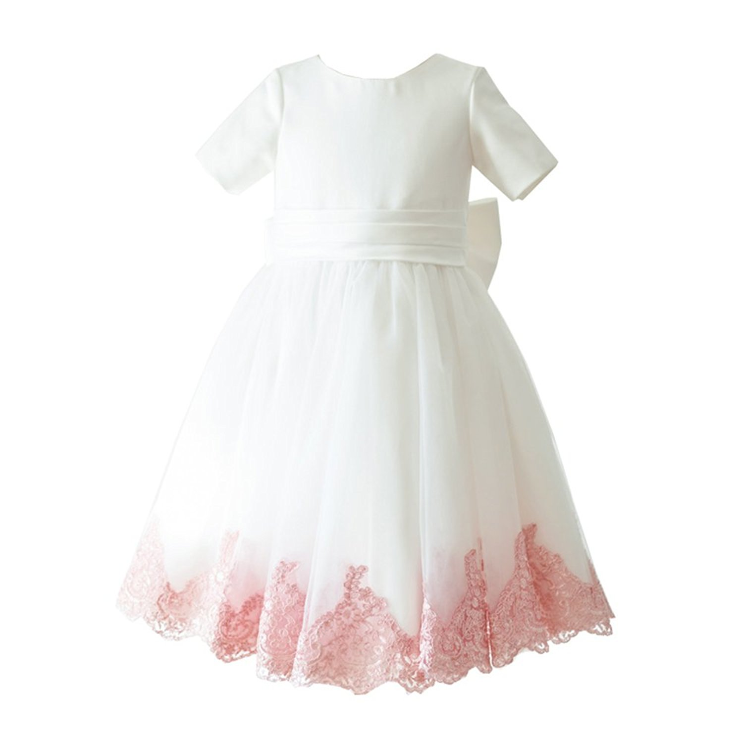 7fbe4a81a Get Quotations · Miama Ivory Lace Tulle Short Sleeves Wedding Flower Girl  Dress Junior Bridesmaid Dress