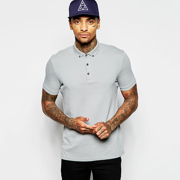 Aangepaste logo t-shirt pique polo t-shirt met button down kraag ps0112a