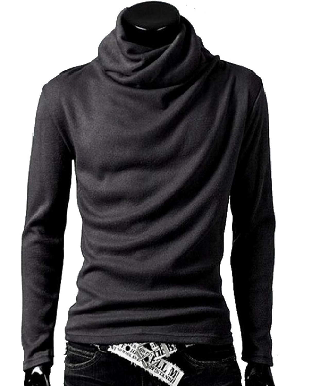 XQS Men Slim High Neck Pullover Sweater Turtleneck Tops