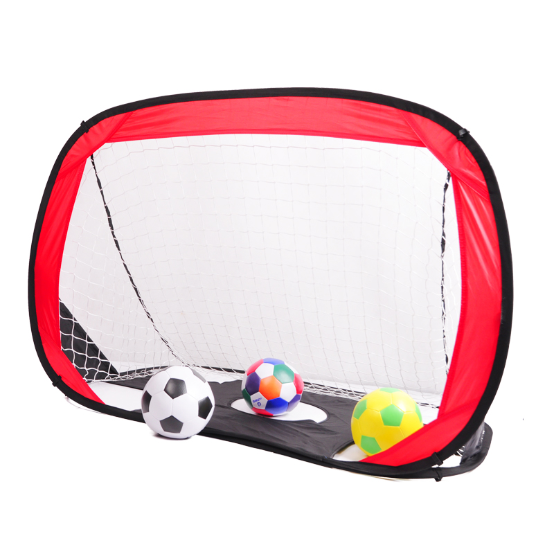 Actearlier Outdoor Sports Toy mini Portable Football Gate Net Goal Gate Foldable Soccer Ball Gate door for kids students, Red with black