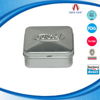Silver food grade packaging square metal aluminium tin container