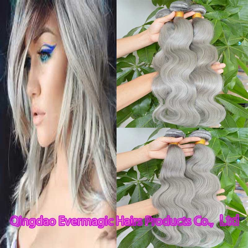 Grey/Gray Brazilian Virgin Hair Body Wave Human Hair <strong>Weave</strong> 8A Unprocessed Brazilian Body Wave Bundles silver Hair Weft Extension