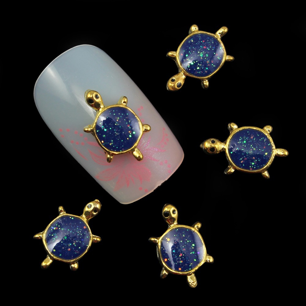 10pcs Glitter tortoise Rhinestones 3d Nail Art Decorations Alloy Nail Sticker Charms Jewelry for Nail Gel
