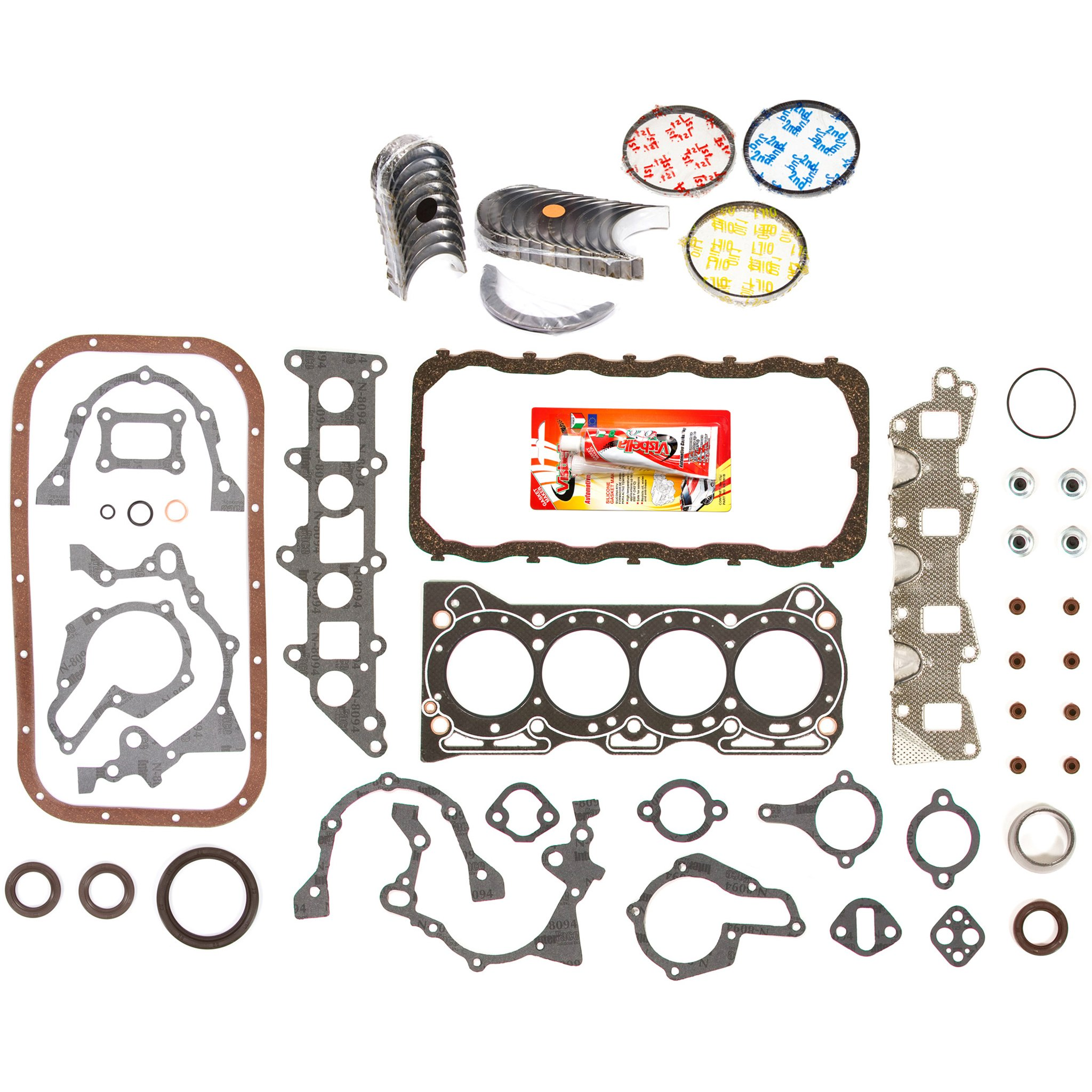 Domestic Gaskets Engine Rering Kit FSBRR8000EVE\0\0\0 86-95 Suzuki Samurai Sidekick Swift 1.3 SOHC G13A Full Gasket Set, Standard Size Main Rod Bearings, Standard Size Piston Rings