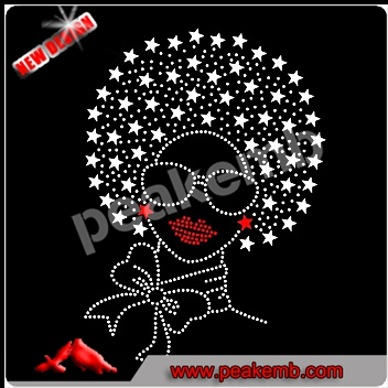 New Afro Girl hot fix rhinestone transfer and heart Afro Girl motif