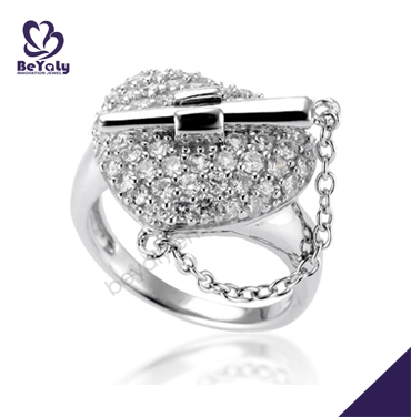 Smart cz heart design silver band engagement ring insurance