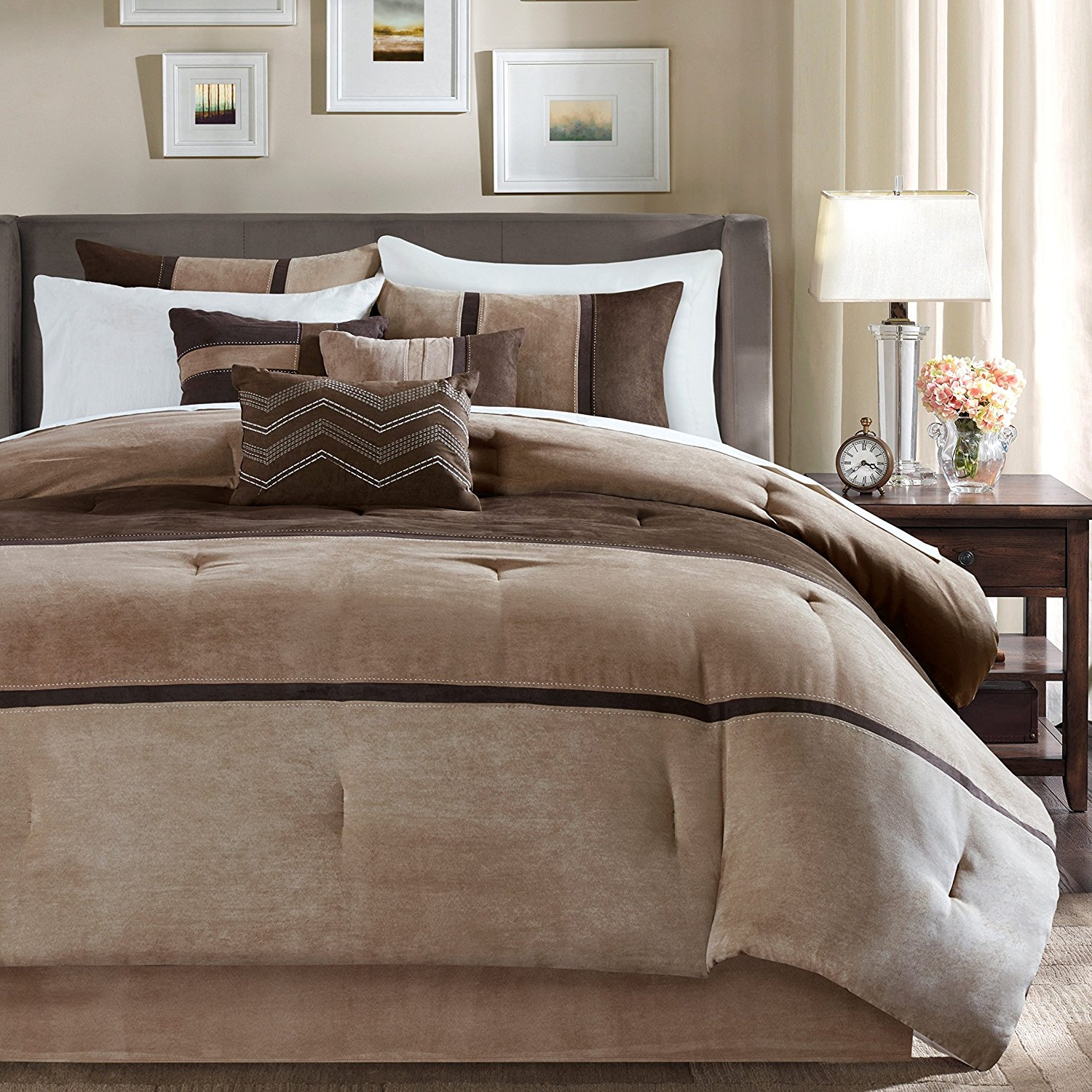 7 Piece Tan Chocolate Brown Striped Comforter Queen Set, Dark Taupe Color Block Adult Bedding Master Bedroom Stylish Patchwork Pattern Elegant Embroidered Pillow Traditional, Polyester Stripe