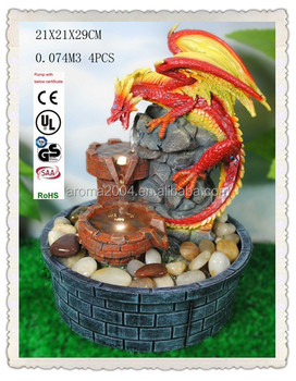 Mystical Dragon Castle Tabletop LED Water Fountain Polyresin Waterfall