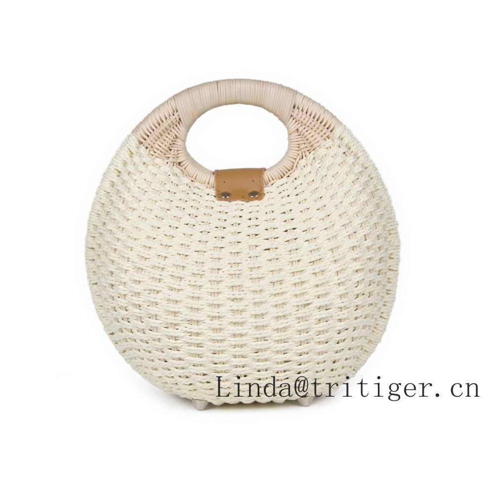 Hot Sale Simple Balloon Style Straw Wicker Rattan Handmade Bag Amozon