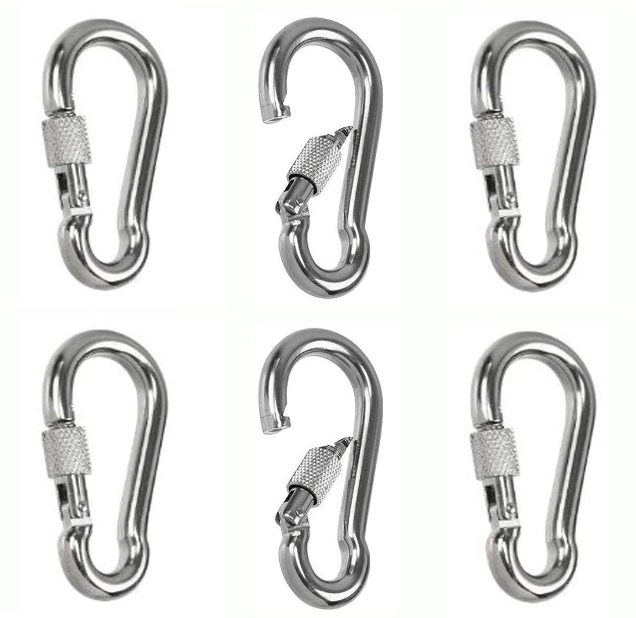 Mydio Set of 16 Silver Spring Snap Hook Stainless Steel 304 Clip Keychain