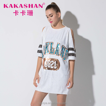 Wholesale Bling T Shirts White Sequin Long Tee Shirt For Women