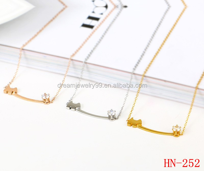 Cute pet dog with gold stick CUBIC ZIRCONIA NECKLACE Stainless Steel Necklace Jewelry
