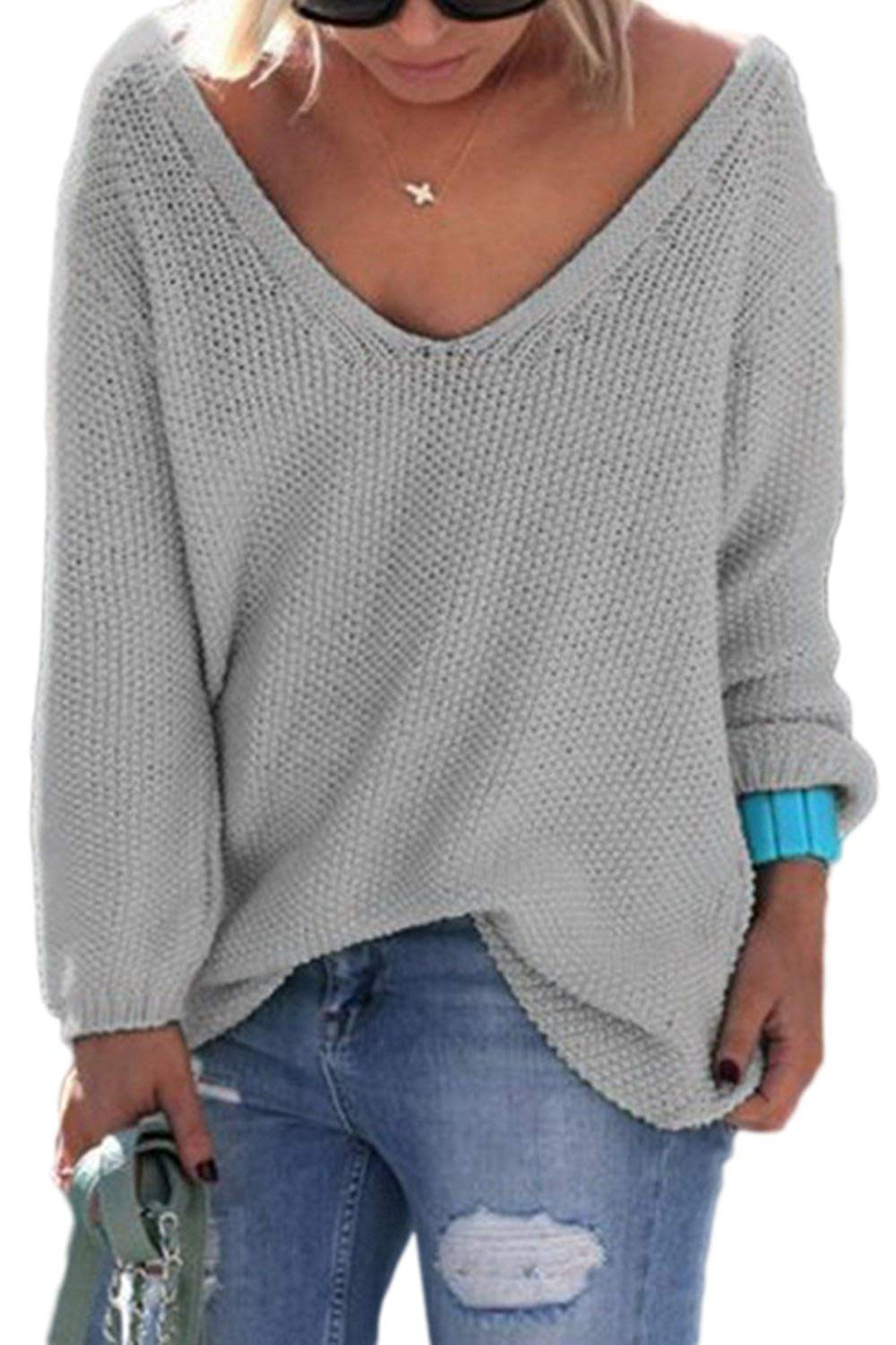 fe2f47618c4fe Get Quotations · Women Casual Pullover Deep V Neck Baggy Knit Cardigan  Sweater Tops