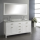 White Daul Sinks Floor Standing Bathroom Wooden Vanity 72 Inch