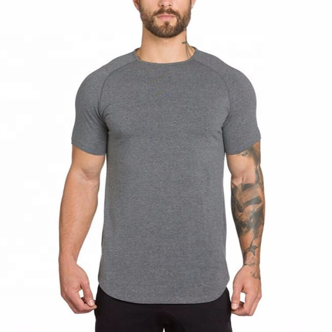 Plain blank fitness breathable cultivate one's morality short sleeves man long T-shirt фото