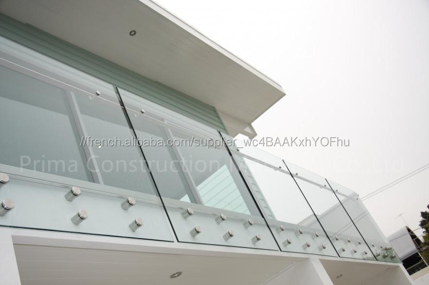 Extérieur sans cadre en verre trempé balcon garde-corps garde-corps ...